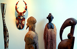 Stock photo of various old cultural sculptures at the Menil in Houston Texas