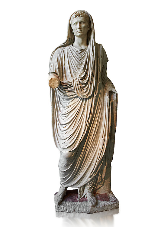 Roman statue of Augustus as Pontifex Maximus, circa 17-14 BC.  This statue of Augustus was typical of the approved style that Augustus used to control his public image. As Pontifex Maximus the statue emphasises the piety of the ruler and his reverence for the gods and traditions of Rome. Augustus thus revitalised the role and function of the most ancient Roman priesthoods and exalted the myths that narrated the origins of Rome. The statue is part of the political propaganda that Augustus used to cement his position of first amongst equals to the very conservative Romans.  National Roman Museum, Rome. .<br /> <br /> If you prefer to buy from our ALAMY PHOTO LIBRARY  Collection visit : https://www.alamy.com/portfolio/paul-williams-funkystock/roman-museum-rome-sculpture.html<br /> <br /> Visit our ROMAN ART & HISTORIC SITES PHOTO COLLECTIONS for more photos to download or buy as wall art prints https://funkystock.photoshelter.com/gallery-collection/The-Romans-Art-Artefacts-Antiquities-Historic-Sites-Pictures-Images/C0000r2uLJJo9_s0