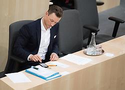"""24.04.2019, Hofburg, Wien, AUT, Parlament, Nationalratssitzung, Sitzung des Nationalrates mit Aktuellen Stunde der Neos mit dem Titel """"Diese Regierung hat keine Ahnung vom Internet"""", im Bild Kanzleramtsminister Gernot Blümel (ÖVP) // Austrian minister of chancellary Gernot Bluemel during meeting of the National Council of austria due to the topic """"Internet"""" at Hofburg palace in Vienna, Austria on 2019/04/24, EXPA Pictures © 2019, PhotoCredit: EXPA/ Michael Gruber"""