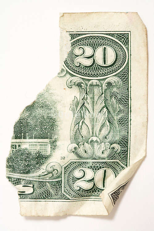 torn up 20 dollars bill