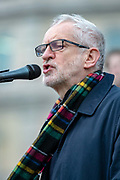 Jeremy Corbyn, leader of the British Labour Party addresses protesters at a Campaign for Nuclear Disarmament demonstration against a possible war with Iran on Trafalgar Square, central London on Saturday, Jan 11, 2020. (Photo/Vudi Xhymshiti)