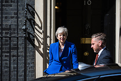 London, UK. 21 May, 2019. Prime Minister Theresa May leaves 10 Downing Street to make a Brexit statement following Cabinet agreement earlier in the day of her plan for her Withdrawal Agreement Bill. Foreign Secretary Jeremy Hunt, Home Secretary Sajid Javid, International Trade Secretary Liam Fox, Defence Secretary Penny Mordaunt, International Development Secretary Rory Stewart, Attorney General Geoffrey Cox and Chief Whip Julian Smith left 10 Downing Street immediately before her.
