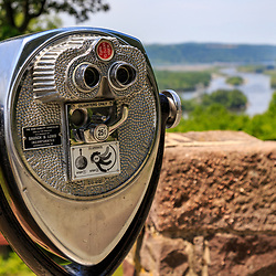 Close up of pay binoculars at a state park lookout.