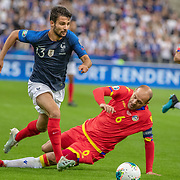 PARIS, FRANCE - September 10:  Leo Dubois #13 of France is challenged by Ildefons Lima #6 of Andorra during the France V Andorra, UEFA European Championship 2020 Qualifying match at Stade de France on September 10th 2019 in Paris, France (Photo by Tim Clayton/Corbis via Getty Images)