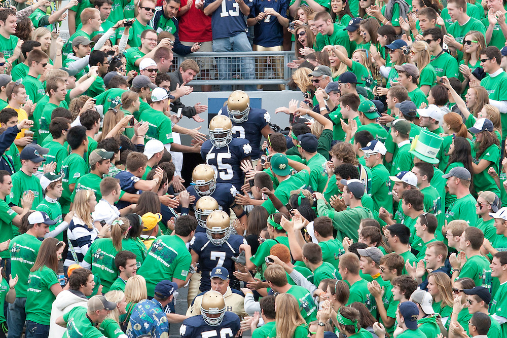 in game action during NCAA football game between the Notre Dame Fighting Irish and the Purdue Boilermakers.  Notre Dame defeated Purdue 23-12 in game at Notre Dame Stadium in South Bend, Indiana.