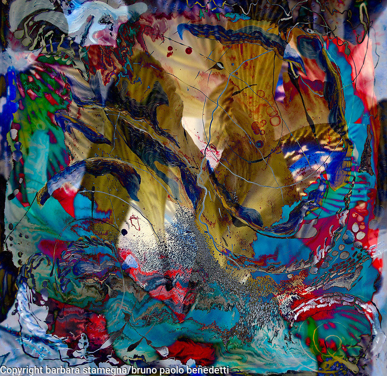 fairy impression abstract art multicolored image with dynamic fish like shapes and light reflections