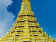 13 DECEMBER 2017 - BANGKOK, THAILAND:  Roofline of the Royal Crematorium on Sanam Luang in Bangkok. The crematorium was used for the funeral of Bhumibol Adulyadej, the Late King of Thailand. He was cremated on 26 October 2017. The crematorium is open to visitors until 31 December 2017. It will be torn down early in 2018. More than 3 million people have visited the crematorium since it opened to the public after the cremation of the King.    PHOTO BY JACK KURTZ