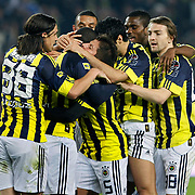 Fenerbahce's Mamadou NIANG celebrate his goal with team mate during their Turkish superleague soccer match Fenerbahce between Konyaspor at the Sukru Saracaoglu stadium in Istanbul Turkey on Sunday 13 March 2011. Photo by TURKPIX
