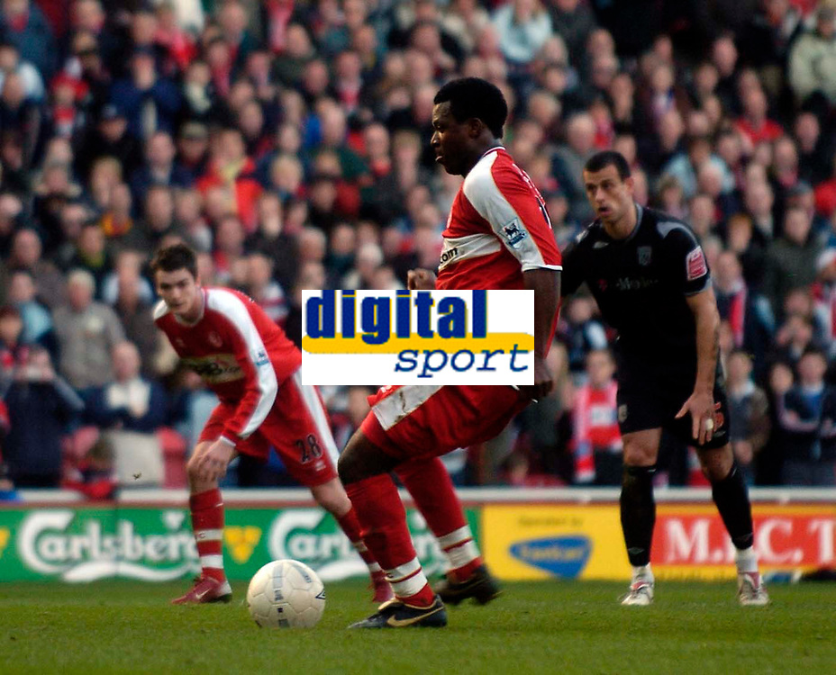 Photo: Jed Wee/Sportsbeat Images.<br /> Middlesbrough v West Bromwich Albion. The FA Cup. 17/02/2007.<br /> <br /> Middlesbrough's Yakubu puts his recent penalty nightmares to rest and scores from the penalty spot.