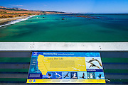 Interpretive sign on the San Simeon Pier, Hearst San Simeon State Park, California USA