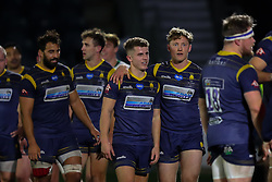 Billy Searle and Tom Howe of Worcester Warriors celebrate their narrow victory over London Irish - Mandatory by-line: Nick Browning/JMP - 21/11/2020 - RUGBY - Sixways Stadium - Worcester, England - Worcester Warriors v London Irish - Gallagher Premiership Rugby