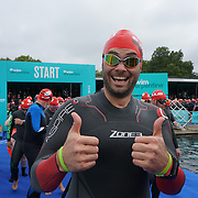 London, England, UK. 16th September 2017. Hundreds takes part Swim Serpentine the 1 mile Red Wave 3 at Serpentine lake.