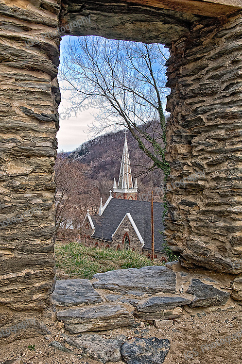 St. Peter's Roman Catholic Church in Harpers Ferry, West Virginia, viewed from church ruins.