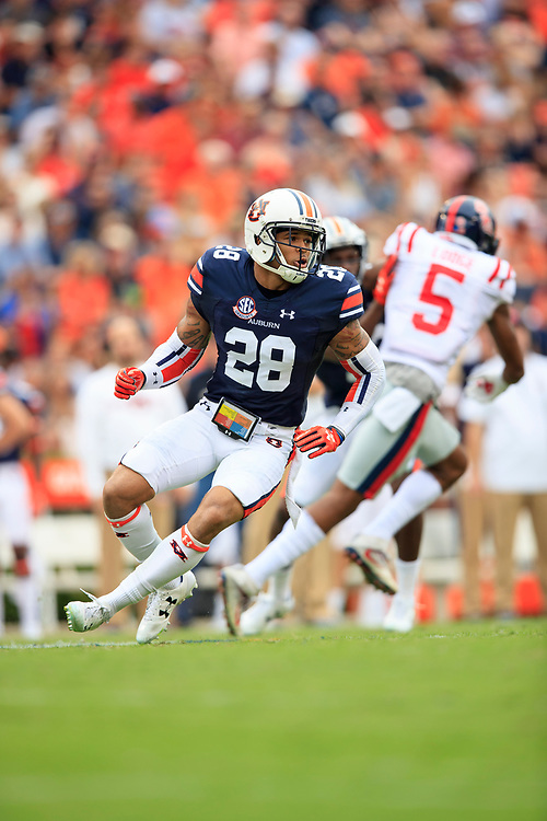 Auburn Tigers defensive back Tray Matthews (28) during an NCAA football game against the Mississippi Rebels, Saturday, October 7, 2017, in Auburn, AL. Auburn won 44-23. (Paul Abell via Abell Images for Chick-fil-A Peach Bowl)