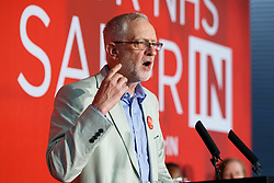 © Licensed to London News Pictures. 14/06/2016. London, UK. Labour Leader JEREMY CORBYN speaks to make his case on how NHS is better off in the EU at TUC Conference Centre in London on 14 June 2016. Photo credit: Tolga Akmen/LNP