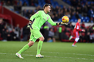 David Marshall, the Cardiff city goalkeeper in action.  Skybet football league championship match, Cardiff city v Rotherham Utd at the Cardiff city stadium in Cardiff, South Wales on Saturday 6th December 2014<br /> pic by Andrew Orchard, Andrew Orchard sports photography.