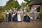 bridal party jumping in park by Tallmadge wedding photographer, Akron wedding photographer Mara Robinson Photography