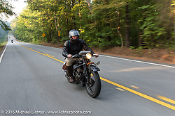 Ryan Allen riding his 1928 Indian during Stage 3 of the Motorcycle Cannonball Cross-Country Endurance Run, which on this day ran from Columbus, GA to Chatanooga, TN., USA. Sunday, September 7, 2014.  Photography ©2014 Michael Lichter.