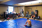 Johny Hendricks ACTION during weigh-ins at the Palms Place in Las Vegas, Nevada on December 6, 2014.