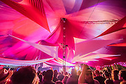 Dancing in the woods as Suggs DJ's at the Sunrise Arena - The 2016 Latitude Festival, Henham Park, Suffolk.