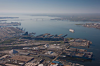 Aerial of Rukert Terminal and Clinton Street with Francis Scott Key Bridge & Cruise ship in background