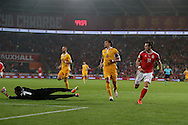 Gareth Bale of Wales  shoots and scores his teams 3rd goal. Wales v Moldova , FIFA World Cup qualifier at the Cardiff city Stadium in Cardiff on Monday 5th Sept 2016. pic by Andrew Orchard, Andrew Orchard sports photography