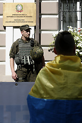 July 24, 2017 - Kiev, Ukraine - Activists of CI4 nationalistic group demand to free Ukrainian soldier Vitaly Markivin front of the Italian Embassy in Kyiv, Ukraine, July 24, 2017. Ukrainian serviceman Vitaly Markiv was detained in Italy 1st of July 2017 on suspicion of being involved in the killing of Italian photojournalist Andrea Rocchelli near the city of Slavyansk in May 2014. (Credit Image: © Sergii Kharchenko/NurPhoto via ZUMA Press)