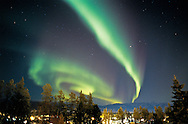 Northern Lights over the City of Whitehorse, Yukon, Canada.