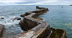 Zig Zag shaped breakwater at St Monans village in East Neuk of Fife in Scotland, United Kingdom