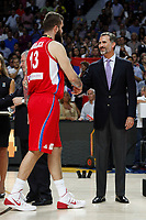 Serbia´s Raduljica receives the silver medal from Spain´s king Pelipe VI during FIBA Basketball World Cup Spain 2014 final award ceremony after losing against United States at `Palacio de los deportes´ stadium in Madrid, Spain. September 14, 2014. (ALTERPHOTOSVictor Blanco)