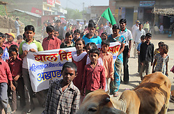 School children participate in an anti-child marriage demonstration, Rajasthan, India, April 25, 2009. The demonstration is held around the Hindu holy day of Akshaya Tritiya, or Akha Teej, a day when child marriage commonly takes place. The protests, which occurred through several villages, were organized by the Shive Health Organization.