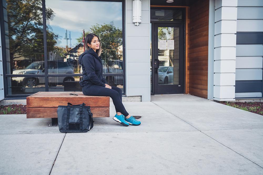 Marina Inoue hanging in the 9th and 9th area of Salt Lake City, Utah.