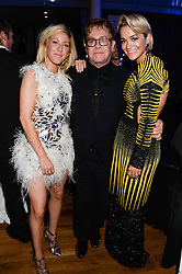 Left to right, ELLIE GOULDING, SIR ELTON JOHN and RITA ORA at the GQ Men of The Year Awards 2013 in association with Hugo Boss held at the Royal Opera House, London on 3rd September 2013.