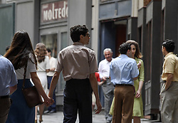 May 3, 2019 - Fiction set of the Brilliant Friend based on the second book by Elena Ferrante ''History of the new surname'', this time the filming moves to Port 'Alba, a famous street in Naples for its historical libraries. 05/03/2019, Naples, Italy (Credit Image: © Salvatore Laporta/IPA via ZUMA Press)