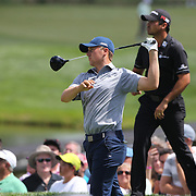 Jordan Spieth, USA, tees off watched by Jason Day, Australia, during The Barclays Golf Tournament at The Plainfield Country Club, Edison, New Jersey, USA. 27th August 2015. Photo Tim Clayton