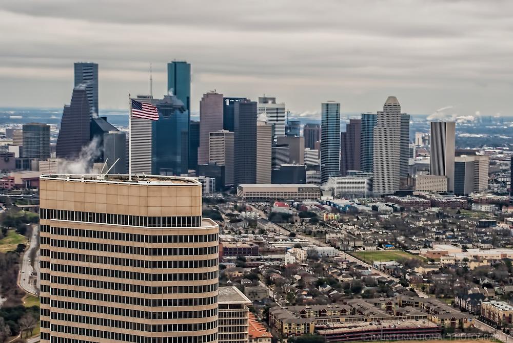 Houston Skyline & US Flag