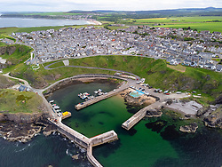 View of harbour at Portknockie on Moray Firth coast in Moray, Scotland, UK