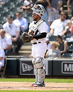 CHICAGO - AUGUST 25:  Jose Trevino #56 of the Texas Rangers looks on against the Chicago White Sox during Players Weekend on August  25, 2019 at Guaranteed Rate Field in Chicago, Illinois.  (Photo by Ron Vesely)  Subject:   Jose Trevino