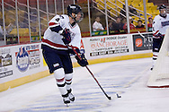 October 13, 2007 - Anchorage, Alaska:  Jeff Gilbert (4) of the Robert Morris Colonials in the 4-1 win over Wayne State in the 3rd game of the Nye Frontier Classic at the Sullivan Arena.  RMU would go on to be the Classic Champions after host Alaska-Anchorage tied with Boston University in the 4th game of the Classic.