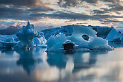 Ice sculptures floating in the Glacier Lagoon, south Iceland.