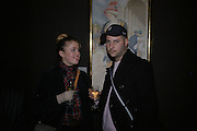 Phillipa Horan and Pablo Leon de la Barra. Endangered Species: Keith Coventry. Fine Art Society. New Bond St. London. 16 January 2006.  January 14 2006. London. ONE TIME USE ONLY - DO NOT ARCHIVE  © Copyright Photograph by Dafydd Jones 66 Stockwell Park Rd. London SW9 0DA Tel 020 7733 0108 www.dafjones.com