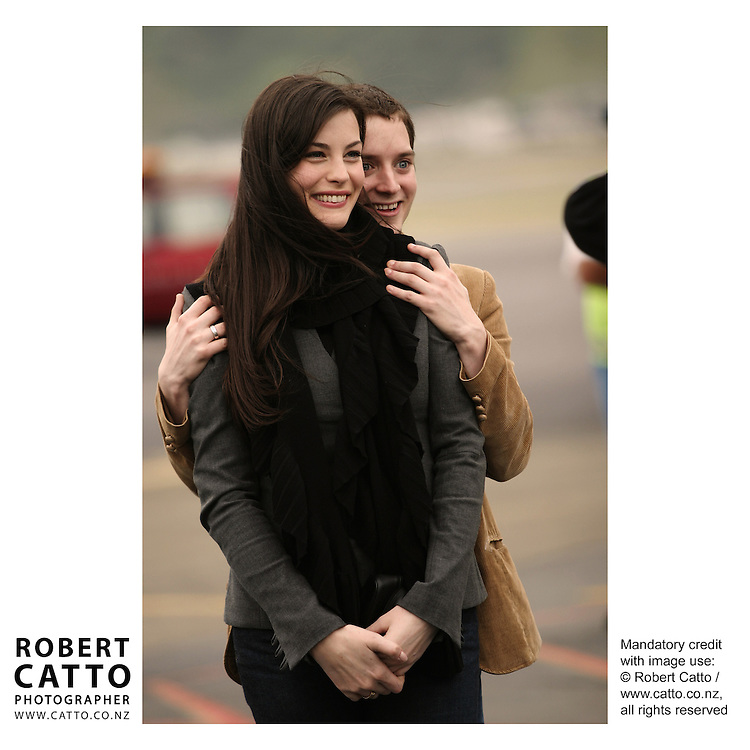 Liv Tyler;Elijah Wood and the cast depart Wellington after the World Premiere of The Lord Of The Rings: Return Of The King  at Wellington Airport, Wellington, New Zealand.