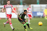 Forest Green Rovers Reece Brown(10) passes the ball forward during the EFL Sky Bet League 2 match between Stevenage and Forest Green Rovers at the Lamex Stadium, Stevenage, England on 26 January 2019.