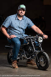 "Utopeia Moto Company's Chris Tope of Richardson, TX with his ""Baby Black Bomber"" cafe racer he built from a 1977 Honda z50 donor bike at the Handbuilt Show. Austin, Austin USA. Sunday, April 14, 2019. Photography ©2019 Michael Lichter."