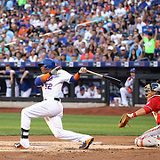 Yoenis Cespedes, New York Mets, grounds out to short stop at his first at bat for the Mets during the New York Mets Vs Washington Nationals. MLB regular season baseball game at Citi Field, Queens, New York. USA. 1st August 2015. (Tim Clayton for New York Daily News)