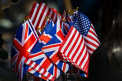 US and Union flags for sale as excitement builds up in Windsor ahead of the royal wedding on Saturday 19th May when HRH Prince Harry weds actress Megan Markle. Windsor, May 17 2018.
