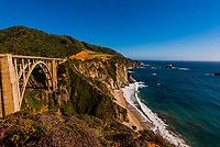 The Bixby Bridge along the Big Sur coast between Carmel Highlands and Big Sur, California USA.
