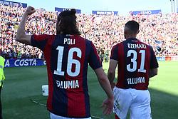 """Foto LaPresse/Filippo Rubin<br /> 27/04/2019 Bologna (Italia)<br /> Sport Calcio<br /> Bologna - Empoli - Campionato di calcio Serie A 2018/2019 - Stadio """"Renato Dall'Ara""""<br /> Nella foto: ANDREA POLI (BOLOGNA F.C.) E BLERIM DZEMAILI (BOLOGNA F.C.)<br /> <br /> Photo LaPresse/Filippo Rubin<br /> April 27, 2019 Bologna (Italy)<br /> Sport Soccer<br /> Bologna vs Empoli - Italian Football Championship League A 2017/2018 - """"Renato Dall'Ara"""" Stadium <br /> In the pic: ANDREA POLI (BOLOGNA F.C.) AND BLERIM DZEMAILI (BOLOGNA F.C.)"""