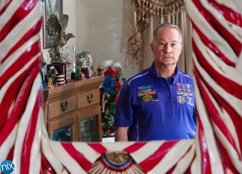Mike Stubbs, Commander of the Military Order of the Purple Heart Chapter 634, at his home in Harrisburg. Stubbs is organizing the the Military Order of the Purple Heart at Charlotte Motor Speedway this weekend.