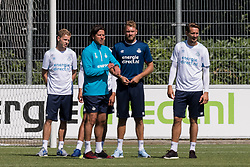 (L-R) Dante Rigo of PSV, head of the youth department Ernest Faber of PSV, goalkeeper Jeroen Zoet of PSV, Luuk de Jong of PSV during a trainings session of PSV Eindhoven at the Herdgang on June 27, 2018 in Eindhoven, The Netherlands